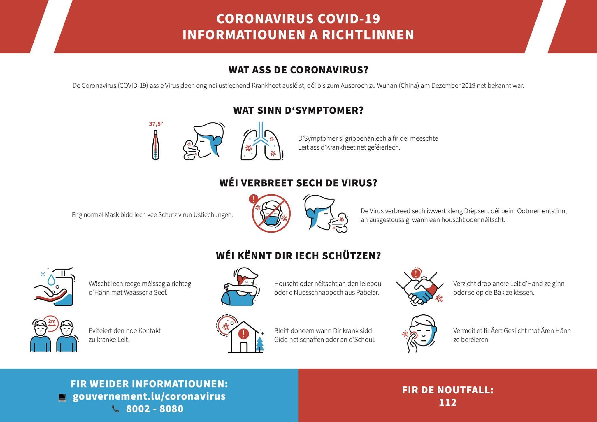 Informatiounen zur COVID-19 Kris