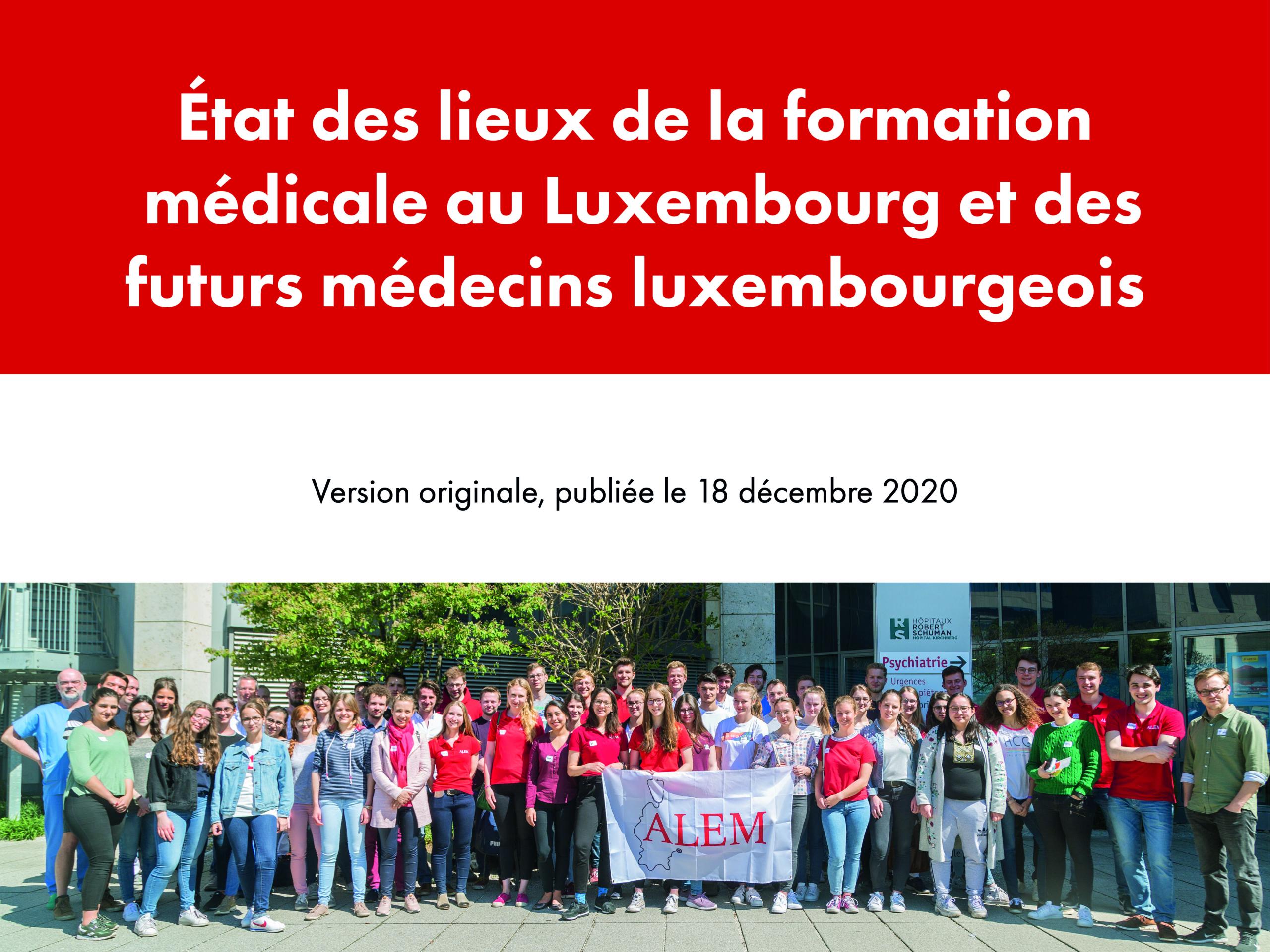 Communiqué de presse:  État des lieux de laformationmédicaleau Luxembourg et desfutursmédecinsluxembourgeois